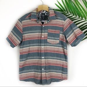 Volcom Boys Button Down Short Sleeve Stripes Med